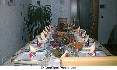beautifully served festive table, the General plan