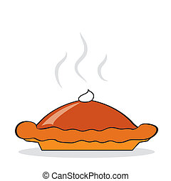 Hot pumpkin pie for Thanksgiving day. Vector illustration