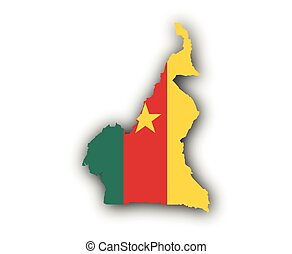Map and flag of Cameroon