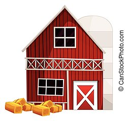 Red barn and silo  illustration