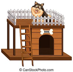 Dog and doghouse made of wood illustration