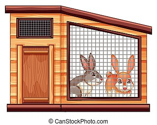 Two cute rabbits in coop illustration