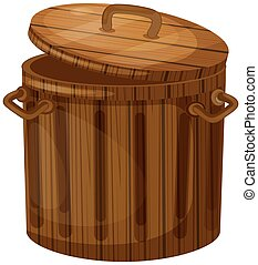 Wooden trashcan with lid illustration