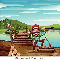 Two lumber jacks chopping woods illustration