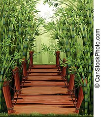 Bamboo forest with wooden bridge illustration