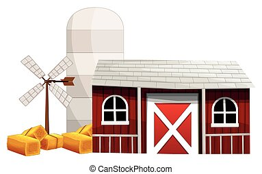 Farm scene with silo and barn