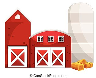 Silo and two red buildings illustration