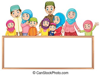 Board template with muslim family in colorful clothes...