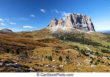 Sassolungo, Val Gardena, Dolomites, Italy. The Sassolungo...