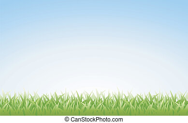 Grass and Sky (Seamless) - Illustration of grass and clear...
