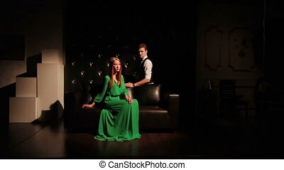 Fashion attractive young couple on sofa - Happy and...