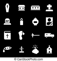 Vector white funeral icons set on black background