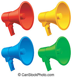 Megaphones. - Set of 4 color megaphones.