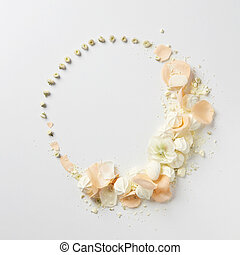 Ornament of flowers in Valentine's Day represented on white...
