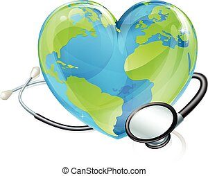 Concept Stethoscope Heart Earth World Globe Health - Planet...