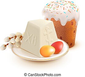 Russian Easter cake, cottage cheese, colorful eggs and...