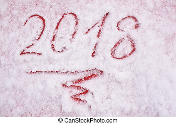 Happy New Year - Inscription 2018 in a snow on a red paper-...