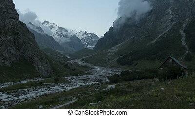 Clouds motion near alpscamp Bezengi - Elbrus area, Russia....