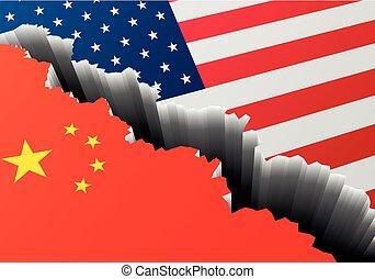 China, profundo, estados unidos de américa, grieta