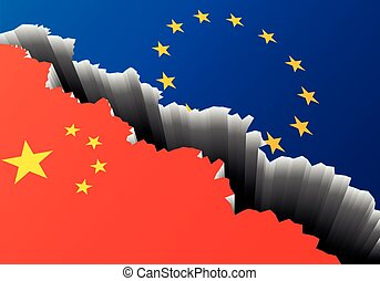 Europe China Deep Crack - detailed illustration of the...