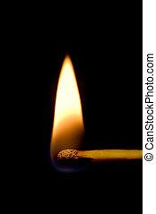 Burning Match Closeup Isolated On Black - Burning Match...