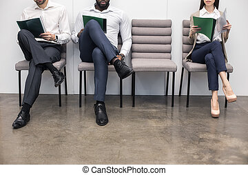 People Waiting for Job Interview Concept - Time for job...