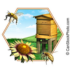 Bee hive - Nice composition of some bees, a flower and an...