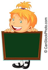 Board template with happy girl illustration
