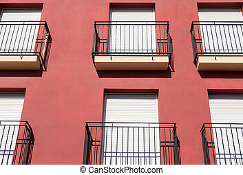 Purple facade with balcony - Closeup view of purple facade...