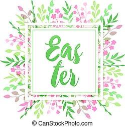 Easter floral frame