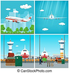 Airport, Waiting Room with People and Airplane - Airport ,...