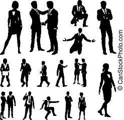Business People Silhouettes - A set of very high quality...