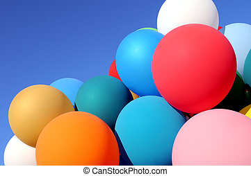 multicolored balloons in the city festival