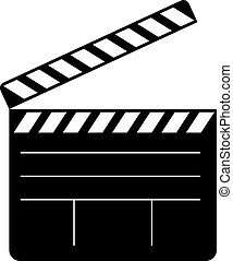 Open clapperboard icon - Clapperboard open icon on white...