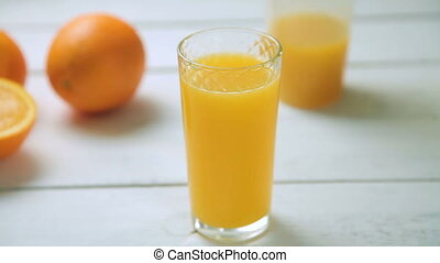 A glass of fresh orange juice revolves around its axis on...