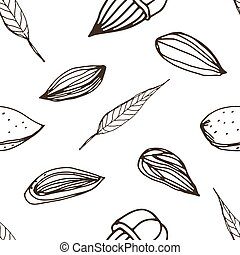 Nut seamless on white background. Hand drawn contour pattern with almond.