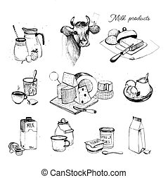 Dairy products hand drawn collection. Set milky farming...