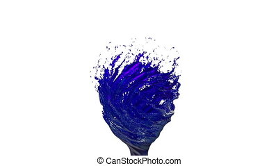 Liquid tornado on white background. Beautiful colored paint is whirling. Isolated transparent vortex of liquid like juice, 3d animation with alpha matte. Version 12