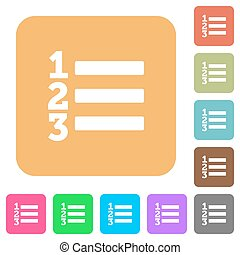 Ordered list rounded square flat icons - Ordered list flat...