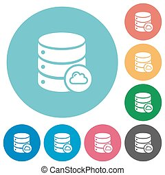 Cloud database flat round icons - Cloud database flat white...