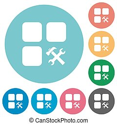 Component tools flat round icons - Component tools flat...