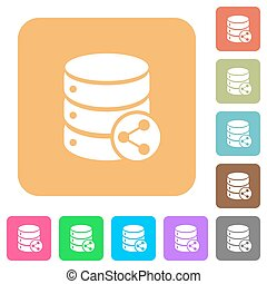 Database table relations rounded square flat icons