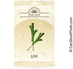 Pack of Leek seeds icon - Vector image of the Pack of Leek...