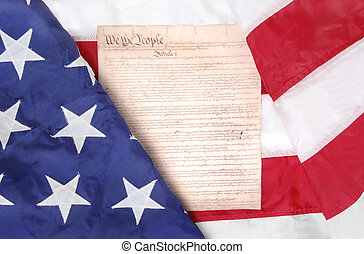 US Symbols - american flag and constitution