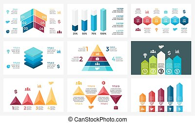 Vector arrows infographic, diagram chart, graph presentation. Business report with 4, 5, 6 options, parts, steps, processes. Triangles, pyramid, timeline. Growth success concept. 16x9 slide template.