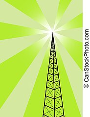 Broadcast tower against a green background