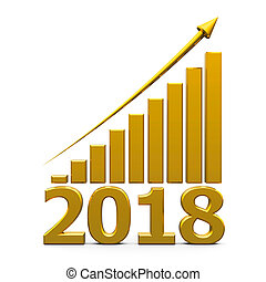 Business graph up with 2018 - Gold business graph with gold...