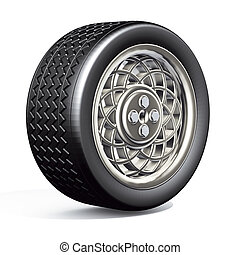 Car tyre silver - Illustration 3D, car tyre with silver rim...
