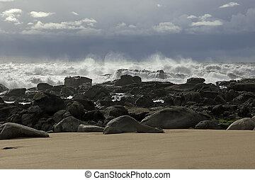 Rough sea in the coast - Rough sea in a rocky empty beach...