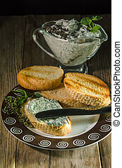 baguette with cream cheese - Slices of French baguette with...